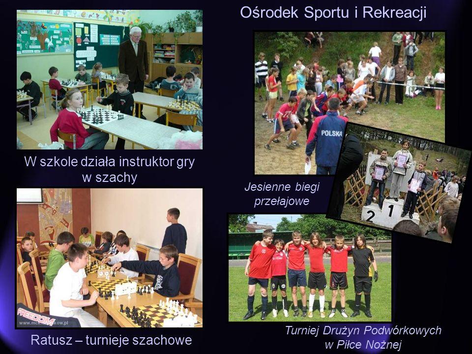 Ośrodek Sportu i Rekreacji W szkole działa instruktor gry w szachy Jesienne biegi przełajowe Turniej Drużyn Podwórkowych w Piłce Nożnej Ratusz – turni
