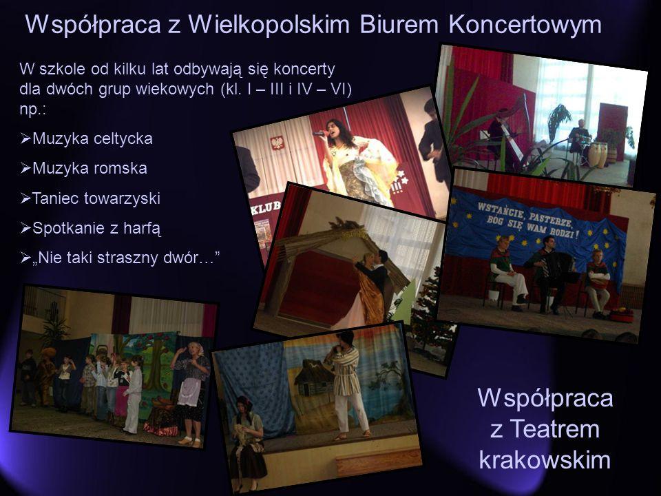 W szkole od kilku lat odbywają się koncerty dla dwóch grup wiekowych (kl. I – III i IV – VI) np.: Muzyka celtycka Muzyka romska Taniec towarzyski Spot