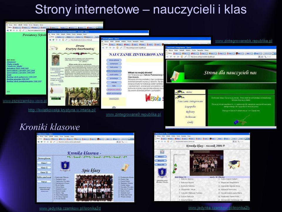Strony internetowe – nauczycieli i klas Kroniki klasowe http://kwiatkowska.krystyna.w.interia.pl/ www.zintegrowanebk.republika.pl www.zintegrowane9.re