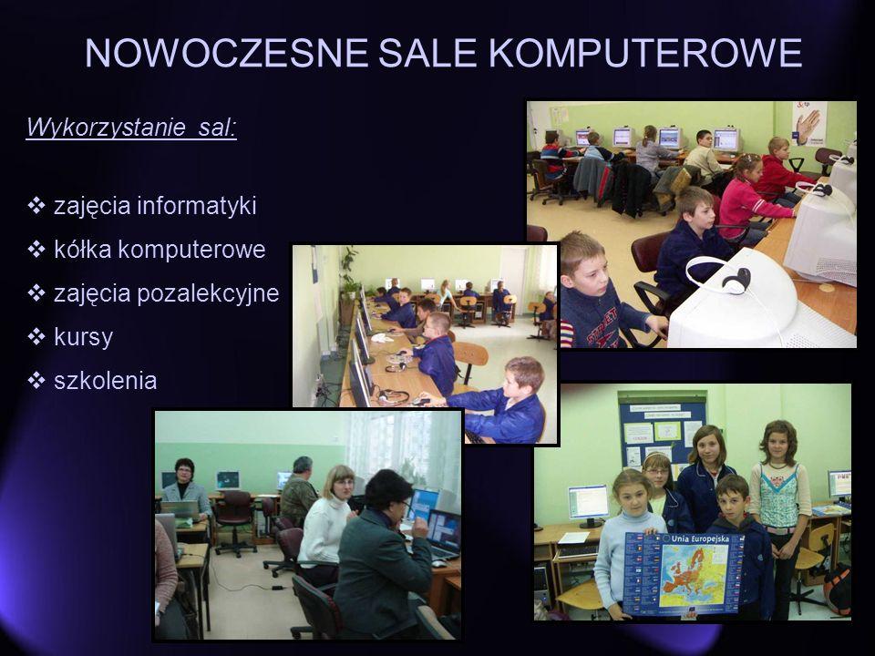 NOWOCZESNE SALE KOMPUTEROWE Wykorzystanie sal: zajęcia informatyki kółka komputerowe zajęcia pozalekcyjne kursy szkolenia