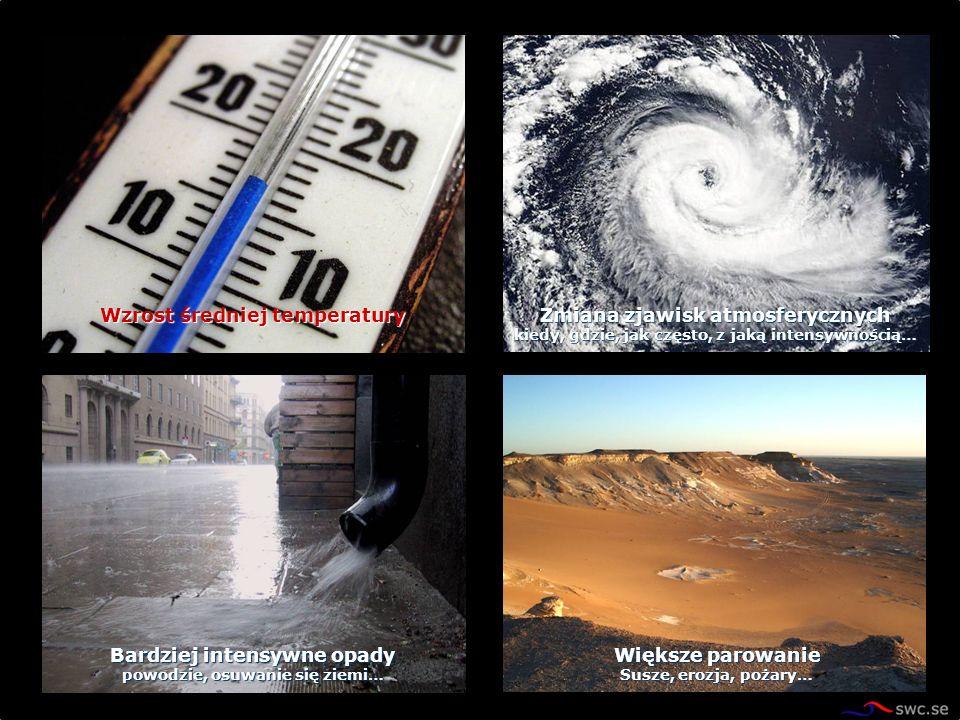 Zmiana zjawisk atmosferycznych kiedy, gdzie, jak często, z jaką intensywnością… Wzrost średniej temperatury Bardziej intensywne opady powodzie, osuwan