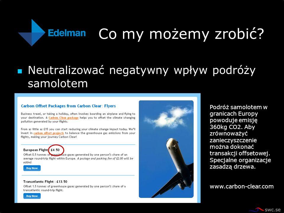 Neutralizować negatywny wpływ podróży samolotem Co my możemy zrobić? Podróż samolotem w granicach Europy powoduje emisję 360kg CO2. Aby zrównoważyć za