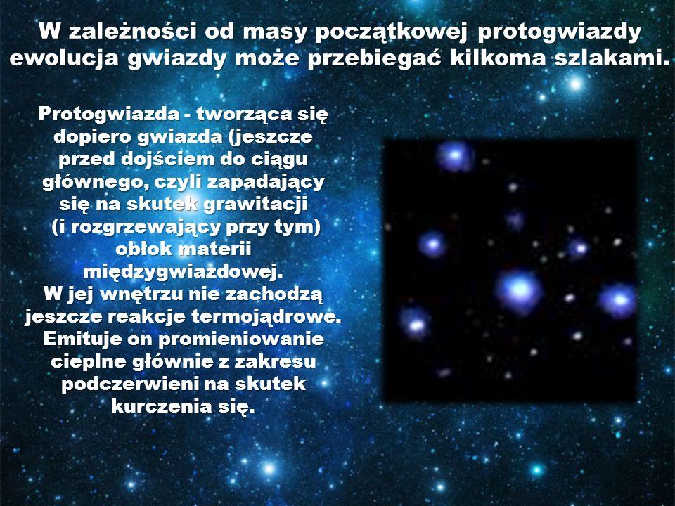 W zależności od masy początkowej protogwiazdy ewolucja gwiazdy może przebiegać kilkoma szlakami. Protogwiazda - tworząca się dopiero gwiazda (jeszcze