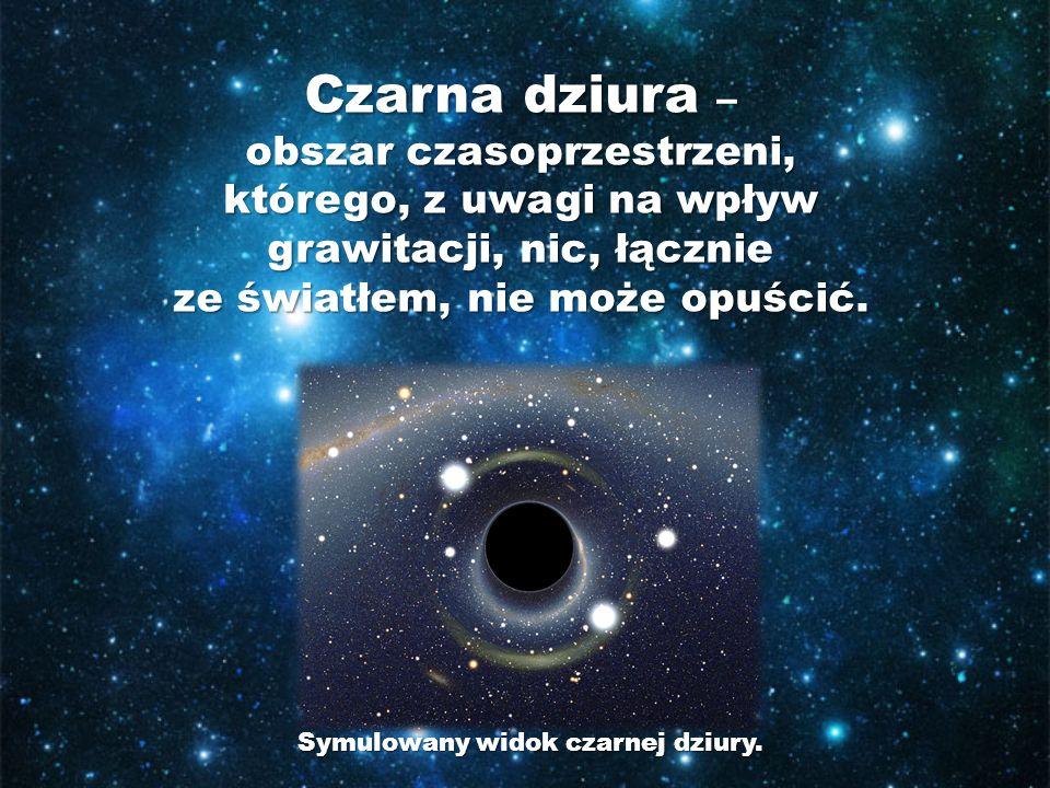 Czarna dziura – obszar czasoprzestrzeni, którego, z uwagi na wpływ grawitacji, nic, łącznie ze światłem, nie może opuścić. Symulowany widok czarnej dz
