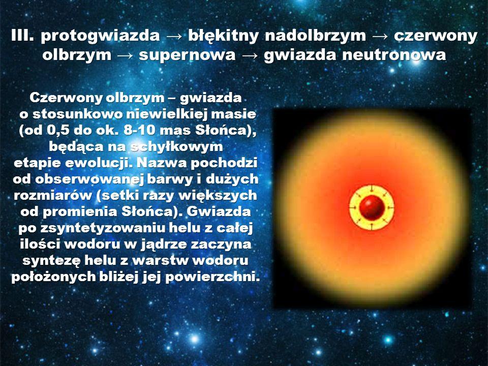 III. protogwiazda błękitny nadolbrzym czerwony olbrzym supernowa gwiazda neutronowa Czerwony olbrzym – gwiazda o stosunkowo niewielkiej masie o stosun