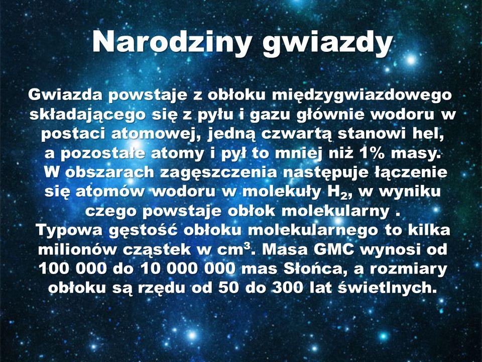 Gwiazda powstaje z obłoku międzygwiazdowego Gwiazda powstaje z obłoku międzygwiazdowego składającego się z pyłu i gazu głównie wodoru w postaci atomow