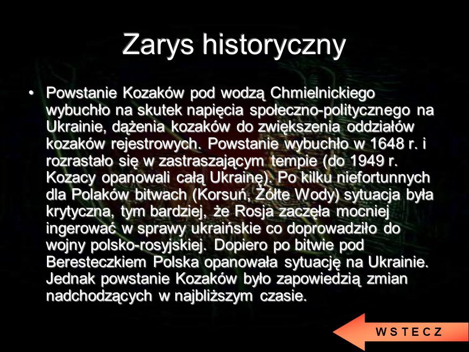 Powstanie Kozaków pod wodzą Chmielnickiego wybuchło na skutek napięcia społeczno-politycznego na Ukrainie, dążenia kozaków do zwiększenia oddziałów kozaków rejestrowych.