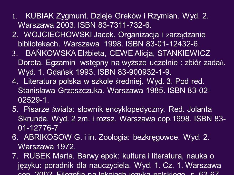 1. KUBIAK Zygmunt. Dzieje Greków i Rzymian. Wyd. 2. Warszawa 2003. ISBN 83-7311-732-6. 2. WOJCIECHOWSKI Jacek. Organizacja i z arz ą dzanie biblioteka