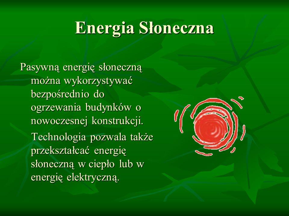 Zalety energii słonecznej Ekologiczna Ekologiczna Darmowa Darmowa Bezpieczna Bezpieczna Duża wydajność Duża wydajność Brak emisji zanieczyszczeń atmosferycznych i gazów cieplarnianych Brak emisji zanieczyszczeń atmosferycznych i gazów cieplarnianych Łatwe utrzymanie/ konserwacja urządzeń Łatwe utrzymanie/ konserwacja urządzeń Możliwość wykorzystania w gospodarstwach oddalonych od innych źródeł energii Możliwość wykorzystania w gospodarstwach oddalonych od innych źródeł energii