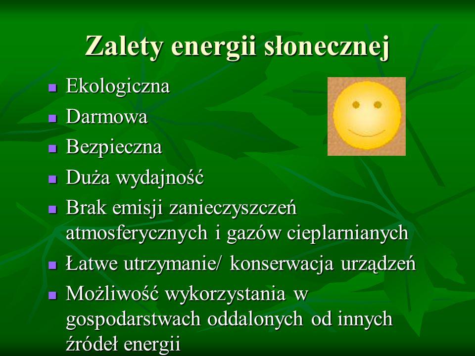 Zalety energii słonecznej Ekologiczna Ekologiczna Darmowa Darmowa Bezpieczna Bezpieczna Duża wydajność Duża wydajność Brak emisji zanieczyszczeń atmos