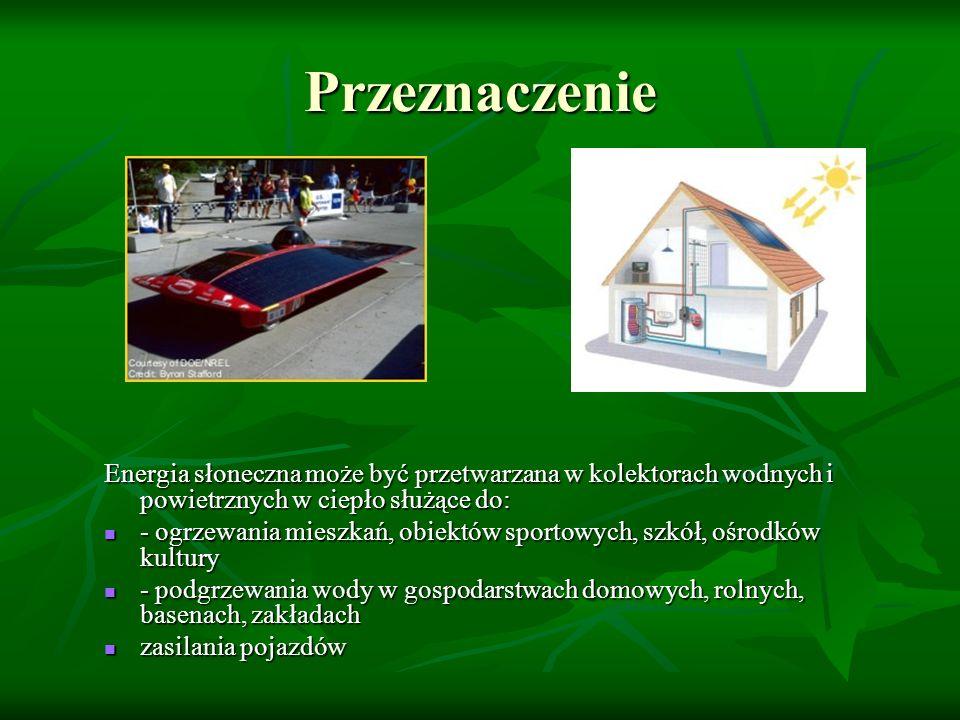 Przeznaczenie Energia słoneczna może być przetwarzana w kolektorach wodnych i powietrznych w ciepło służące do: - ogrzewania mieszkań, obiektów sporto