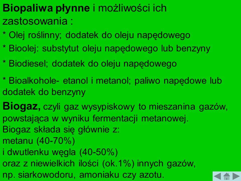 Biopaliwa płynne i możliwości ich zastosowania : * Olej roślinny; dodatek do oleju napędowego * Bioolej: substytut oleju napędowego lub benzyny * Biod