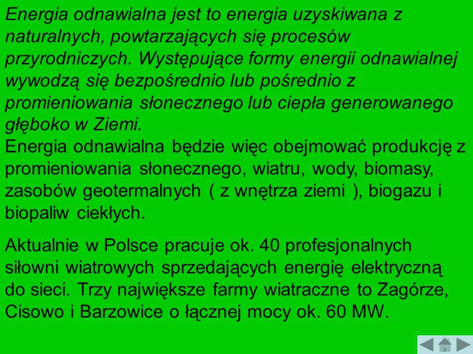 Energia odnawialna jest to energia uzyskiwana z naturalnych, powtarzających się procesów przyrodniczych. Występujące formy energii odnawialnej wywodzą
