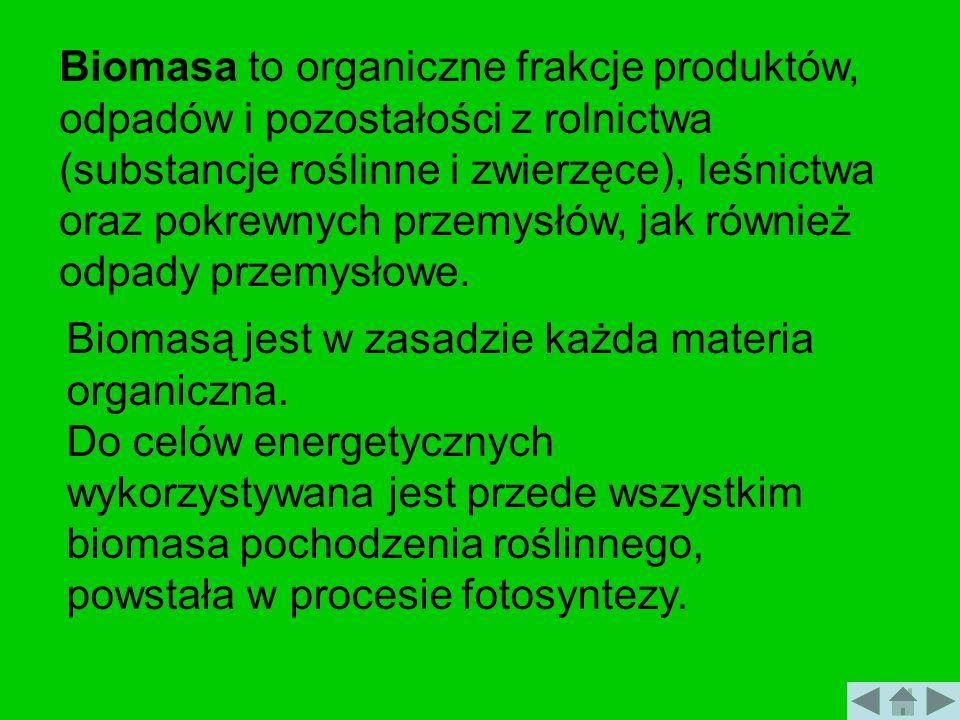 Biomasa to organiczne frakcje produktów, odpadów i pozostałości z rolnictwa (substancje roślinne i zwierzęce), leśnictwa oraz pokrewnych przemysłów, j