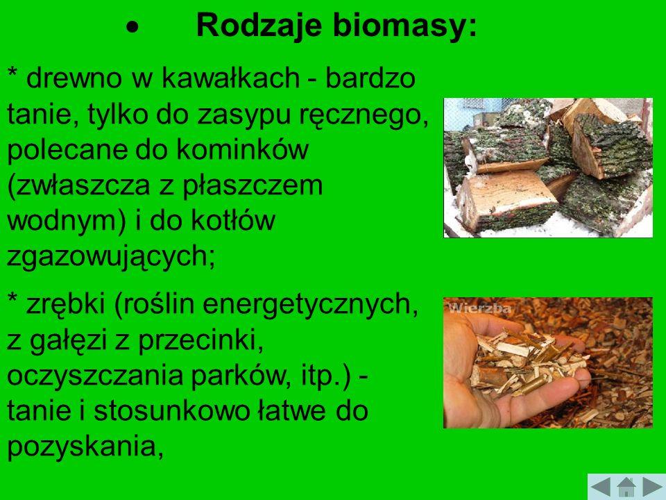 Rodzaje biomasy: * drewno w kawałkach - bardzo tanie, tylko do zasypu ręcznego, polecane do kominków (zwłaszcza z płaszczem wodnym) i do kotłów zgazow