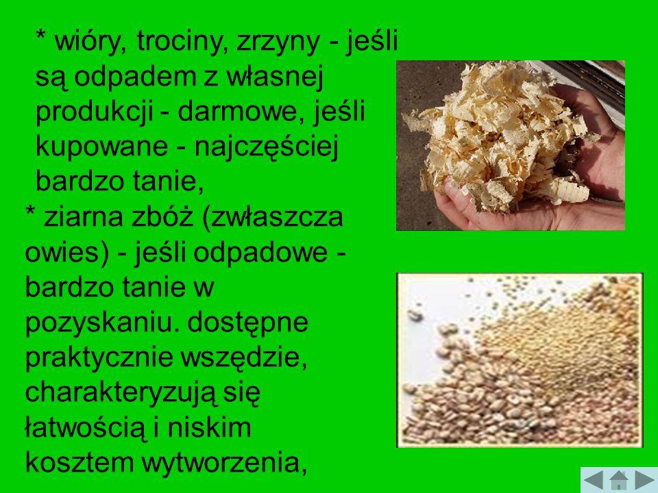 * wióry, trociny, zrzyny - jeśli są odpadem z własnej produkcji - darmowe, jeśli kupowane - najczęściej bardzo tanie, * ziarna zbóż (zwłaszcza owies)