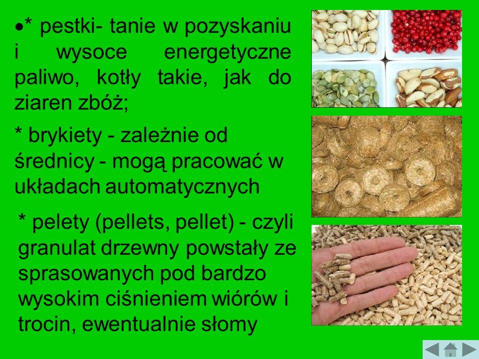 * pestki- tanie w pozyskaniu i wysoce energetyczne paliwo, kotły takie, jak do ziaren zbóż; * brykiety - zależnie od średnicy - mogą pracować w układa