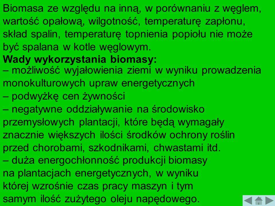 Biomasa ze względu na inną, w porównaniu z węglem, wartość opałową, wilgotność, temperaturę zapłonu, skład spalin, temperaturę topnienia popiołu nie m