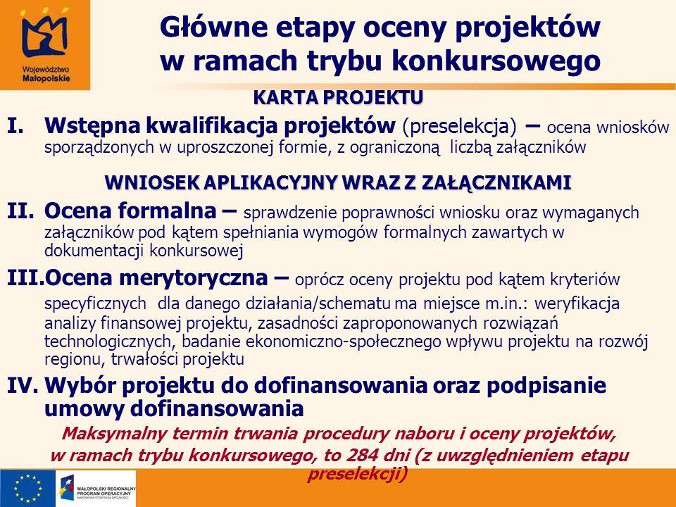 Główne etapy oceny projektów w ramach trybu konkursowego KARTA PROJEKTU I.Wstępna kwalifikacja projektów (preselekcja) – ocena wniosków sporządzonych
