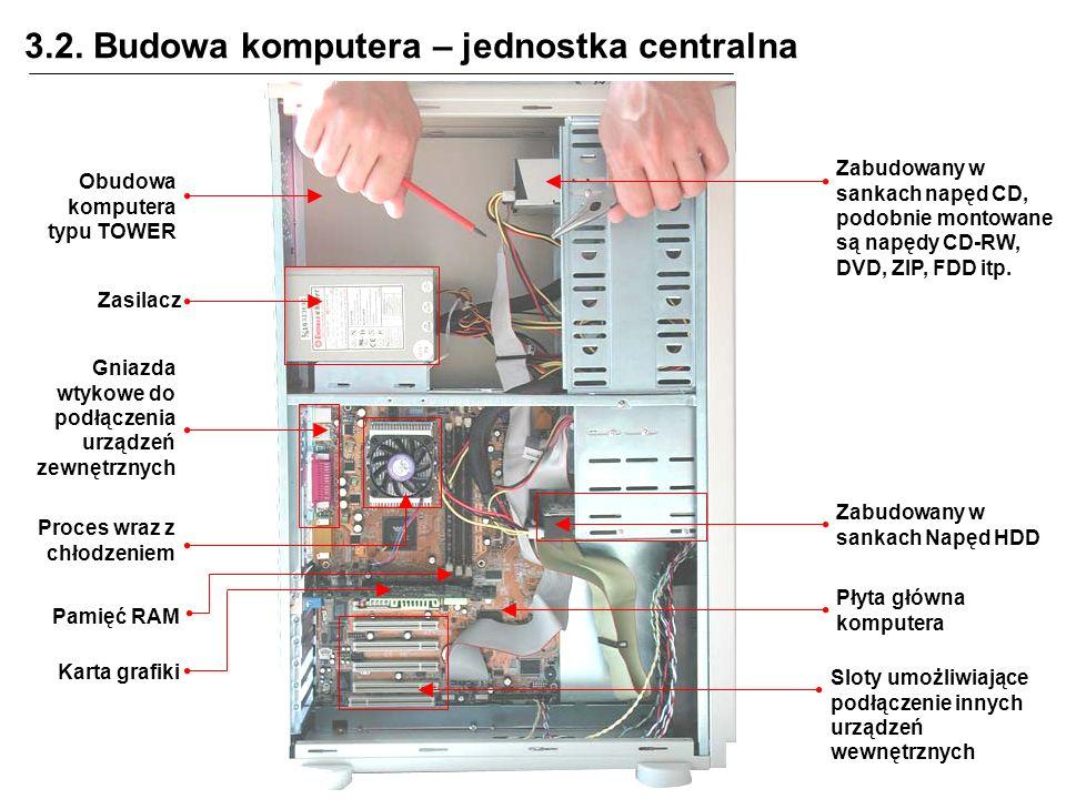 3.2. Budowa komputera – jednostka centralna Zabudowany w sankach napęd CD, podobnie montowane są napędy CD-RW, DVD, ZIP, FDD itp. Zasilacz Zabudowany