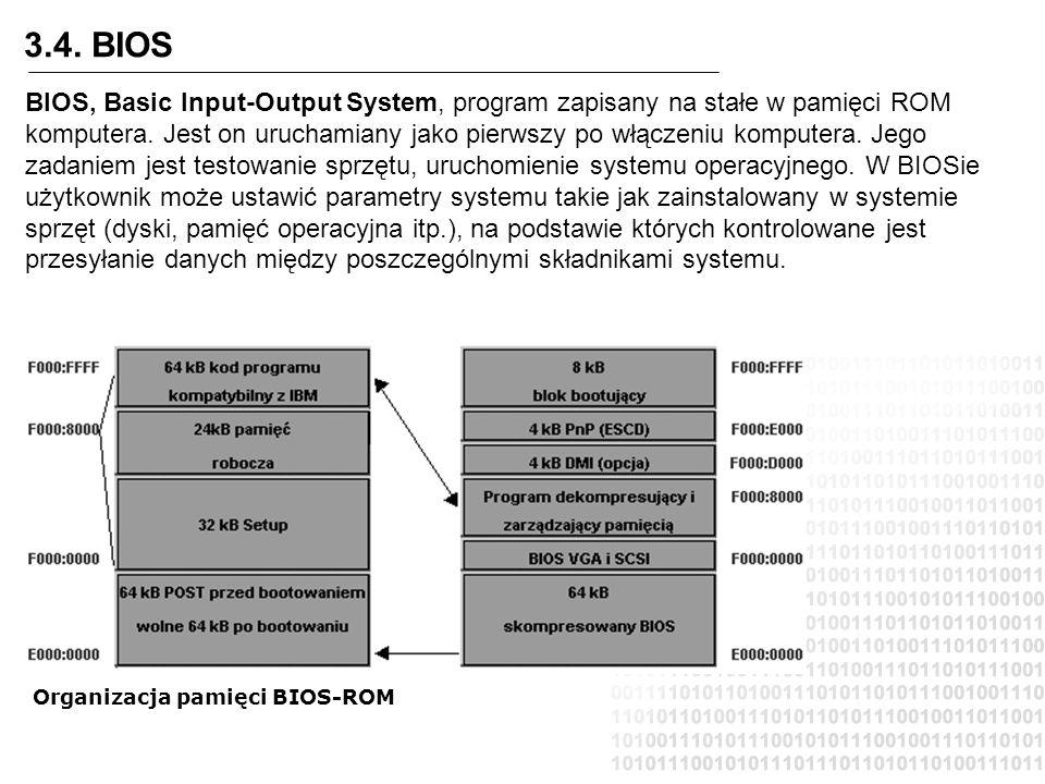 3.4. BIOS BIOS, Basic Input-Output System, program zapisany na stałe w pamięci ROM komputera. Jest on uruchamiany jako pierwszy po włączeniu komputera