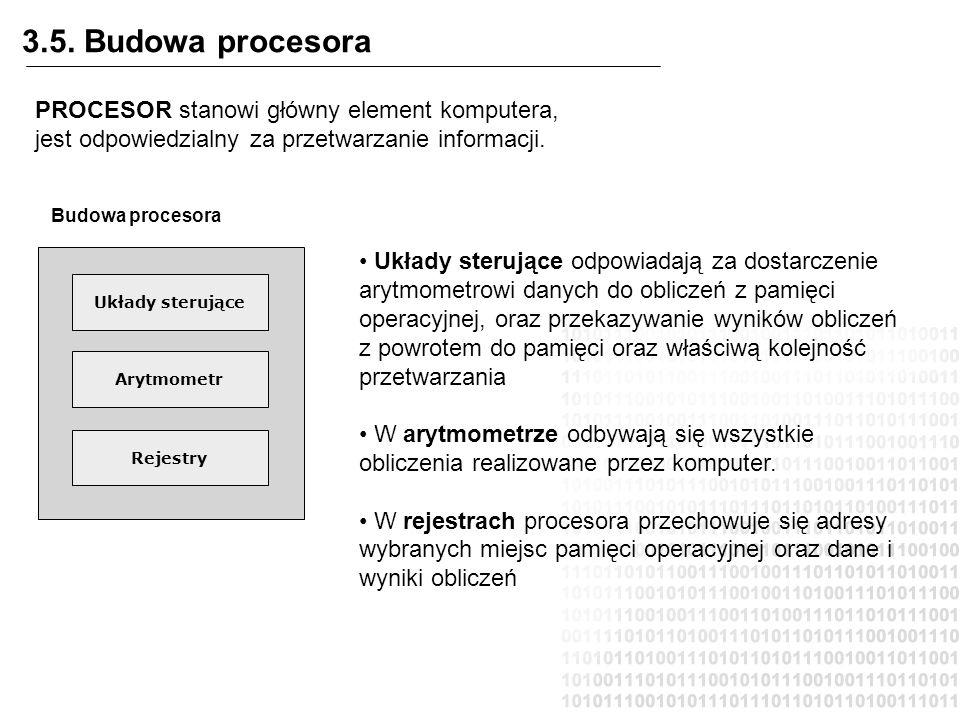 3.5. Budowa procesora Budowa procesora Układy sterujące Arytmometr Rejestry PROCESOR stanowi główny element komputera, jest odpowiedzialny za przetwar