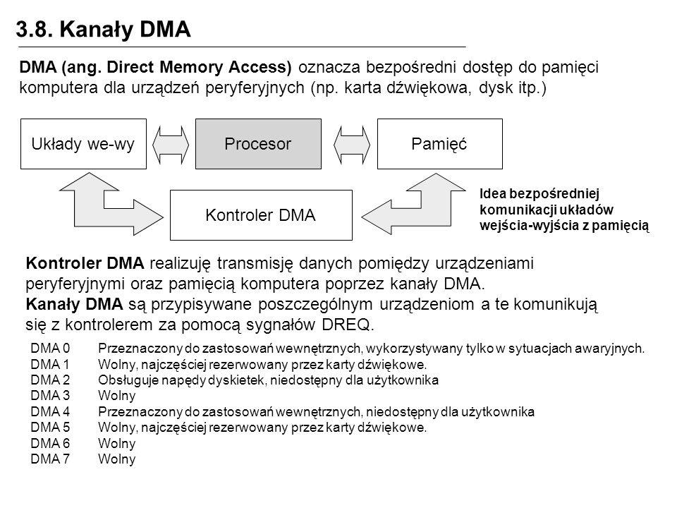 3.8. Kanały DMA DMA (ang. Direct Memory Access) oznacza bezpośredni dostęp do pamięci komputera dla urządzeń peryferyjnych (np. karta dźwiękowa, dysk