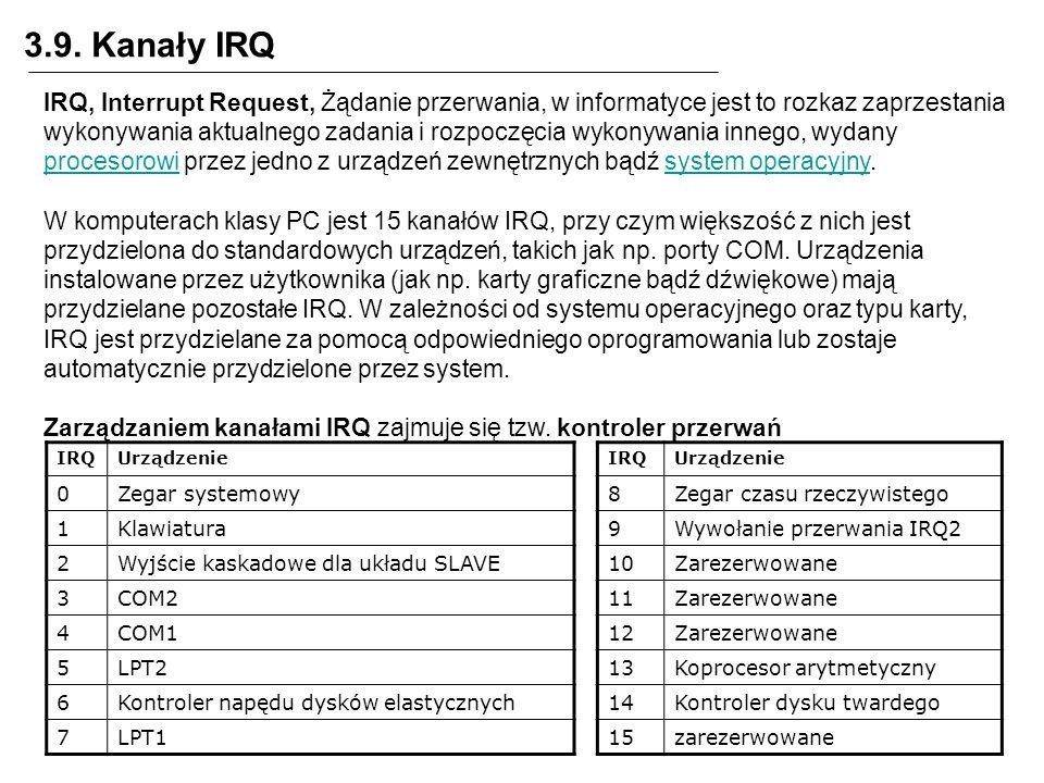 3.9. Kanały IRQ IRQ, Interrupt Request, Żądanie przerwania, w informatyce jest to rozkaz zaprzestania wykonywania aktualnego zadania i rozpoczęcia wyk