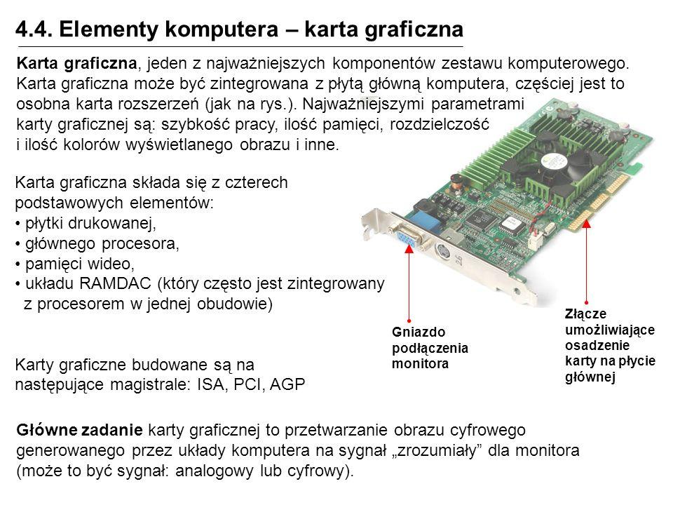 4.4. Elementy komputera – karta graficzna Złącze umożliwiające osadzenie karty na płycie głównej Gniazdo podłączenia monitora Karta graficzna, jeden z
