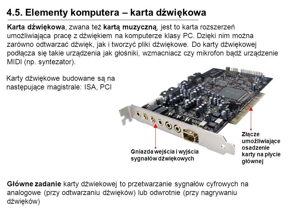 4.5. Elementy komputera – karta dźwiękowa Złącze umożliwiające osadzenie karty na płycie głównej Gniazda wejścia i wyjścia sygnałów dźwiękowych Karta