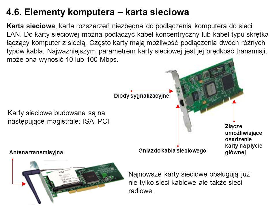 4.6. Elementy komputera – karta sieciowa Złącze umożliwiające osadzenie karty na płycie głównej Gniazdo kabla sieciowego Karta sieciowa, karta rozszer