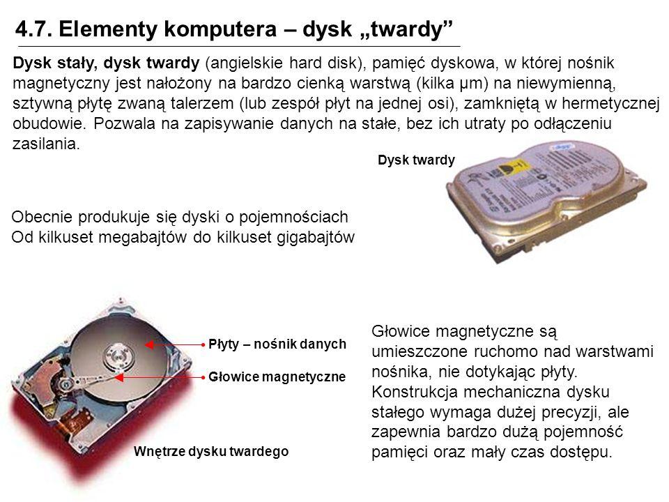 4.7. Elementy komputera – dysk twardy Dysk stały, dysk twardy (angielskie hard disk), pamięć dyskowa, w której nośnik magnetyczny jest nałożony na bar