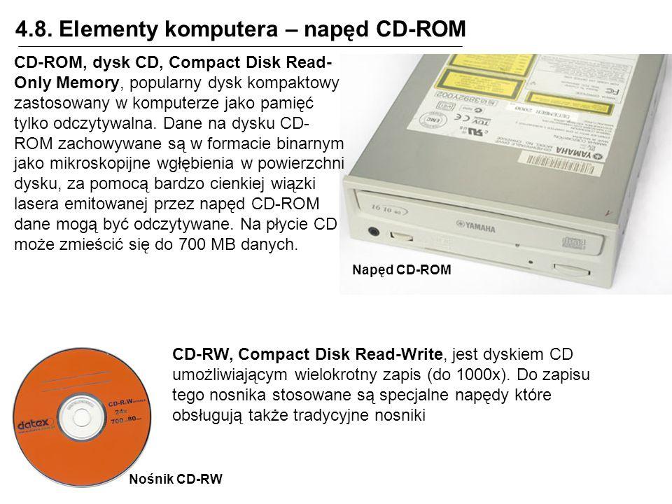 4.8. Elementy komputera – napęd CD-ROM CD-RW, Compact Disk Read-Write, jest dyskiem CD umożliwiającym wielokrotny zapis (do 1000x). Do zapisu tego nos