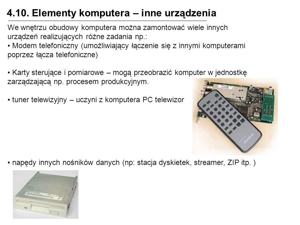 4.10. Elementy komputera – inne urządzenia We wnętrzu obudowy komputera można zamontować wiele innych urządzeń realizujących różne zadania np.: Modem