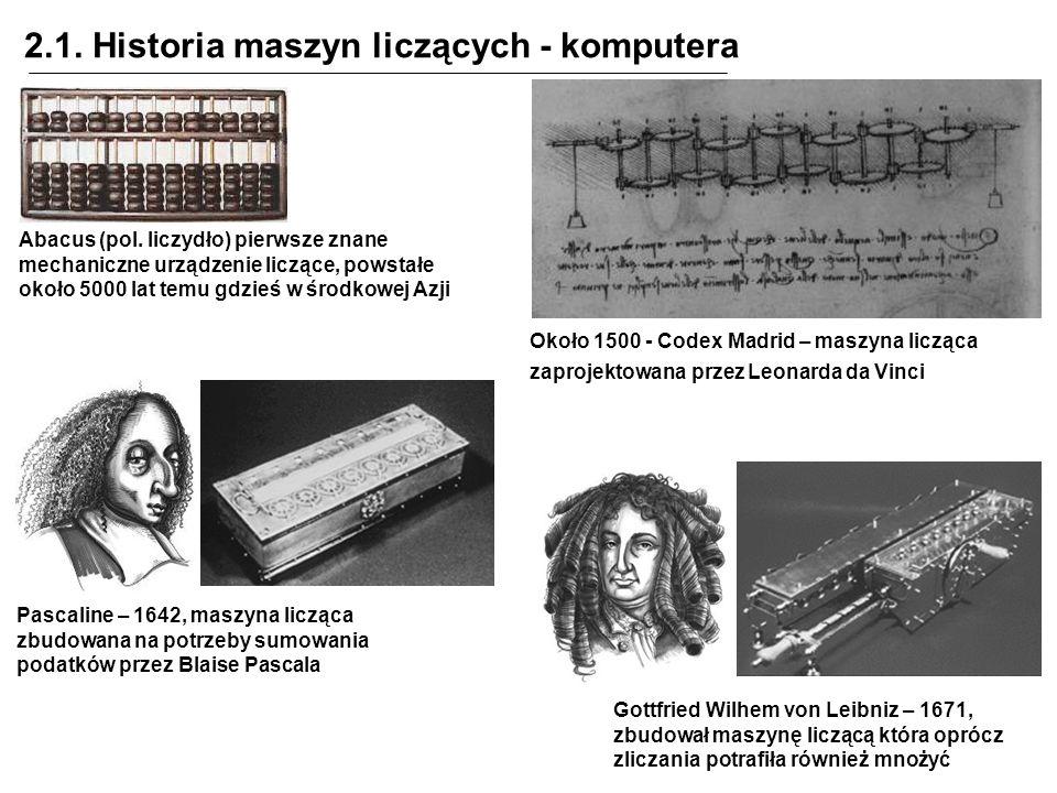 2.1. Historia maszyn liczących - komputera Abacus (pol. liczydło) pierwsze znane mechaniczne urządzenie liczące, powstałe około 5000 lat temu gdzieś w