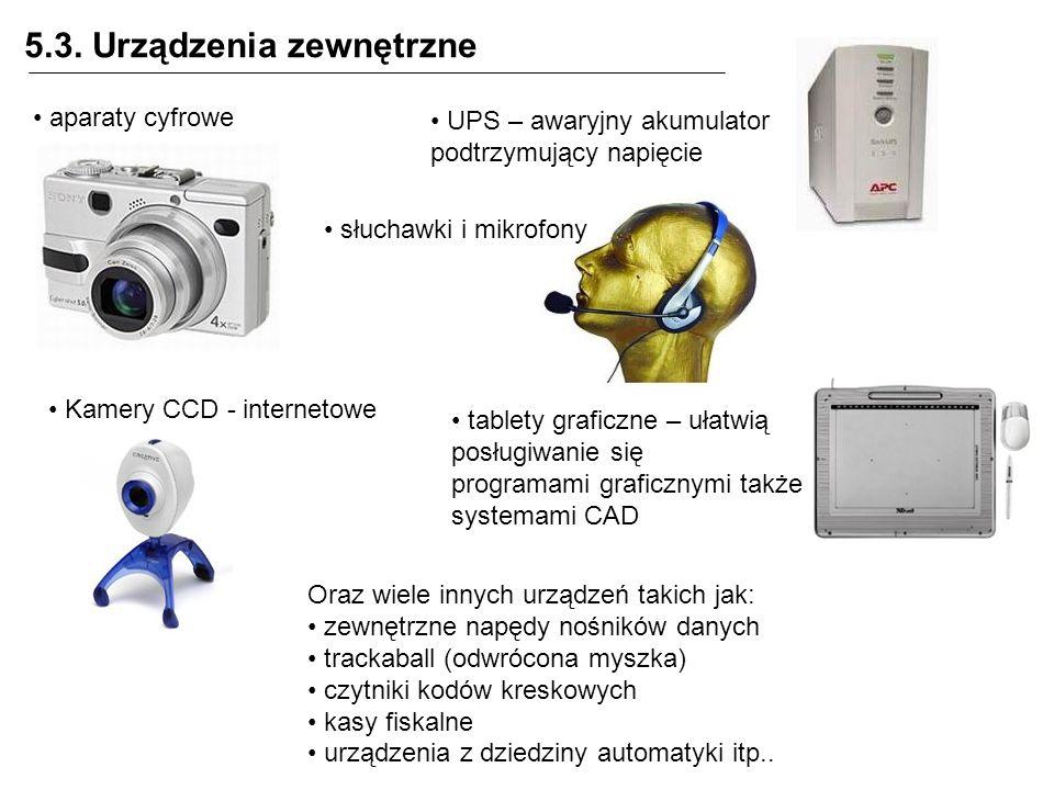 5.3. Urządzenia zewnętrzne aparaty cyfrowe Oraz wiele innych urządzeń takich jak: zewnętrzne napędy nośników danych trackaball (odwrócona myszka) czyt