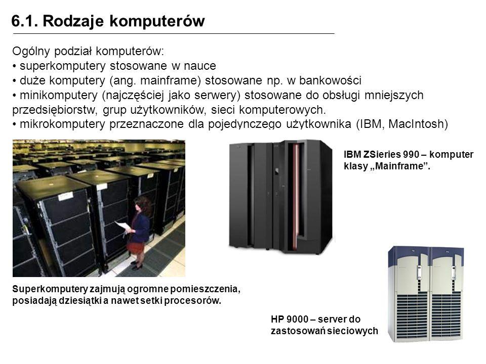6.1. Rodzaje komputerów Ogólny podział komputerów: superkomputery stosowane w nauce duże komputery (ang. mainframe) stosowane np. w bankowości minikom