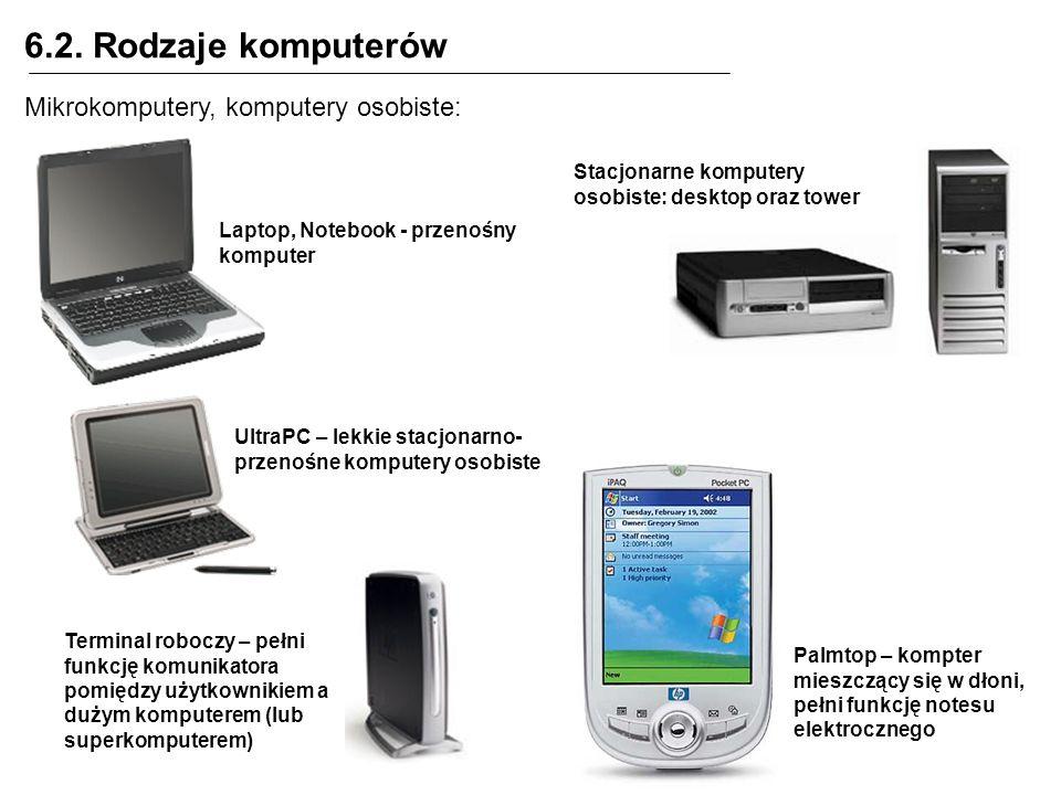 6.2. Rodzaje komputerów Mikrokomputery, komputery osobiste: Stacjonarne komputery osobiste: desktop oraz tower Laptop, Notebook - przenośny komputer U