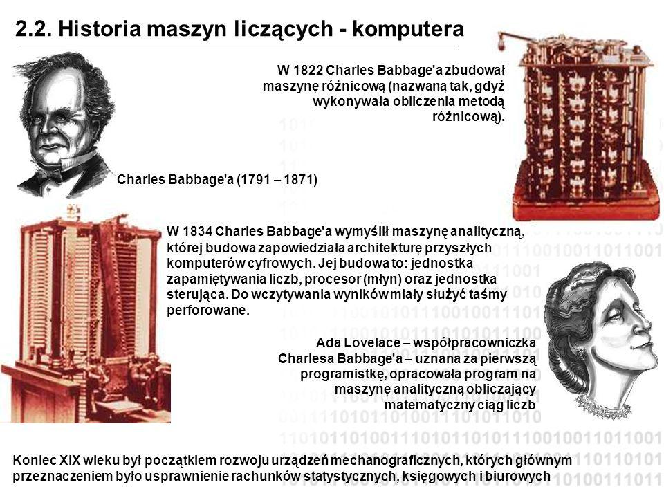 2.2. Historia maszyn liczących - komputera W 1822 Charles Babbage'a zbudował maszynę różnicową (nazwaną tak, gdyż wykonywała obliczenia metodą różnico