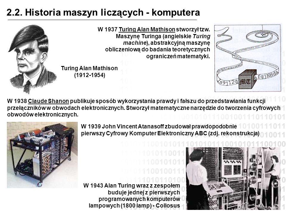 2.2. Historia maszyn liczących - komputera W 1937 Turing Alan Mathison stworzył tzw. Maszynę Turinga (angielskie Turing machine), abstrakcyjną maszynę