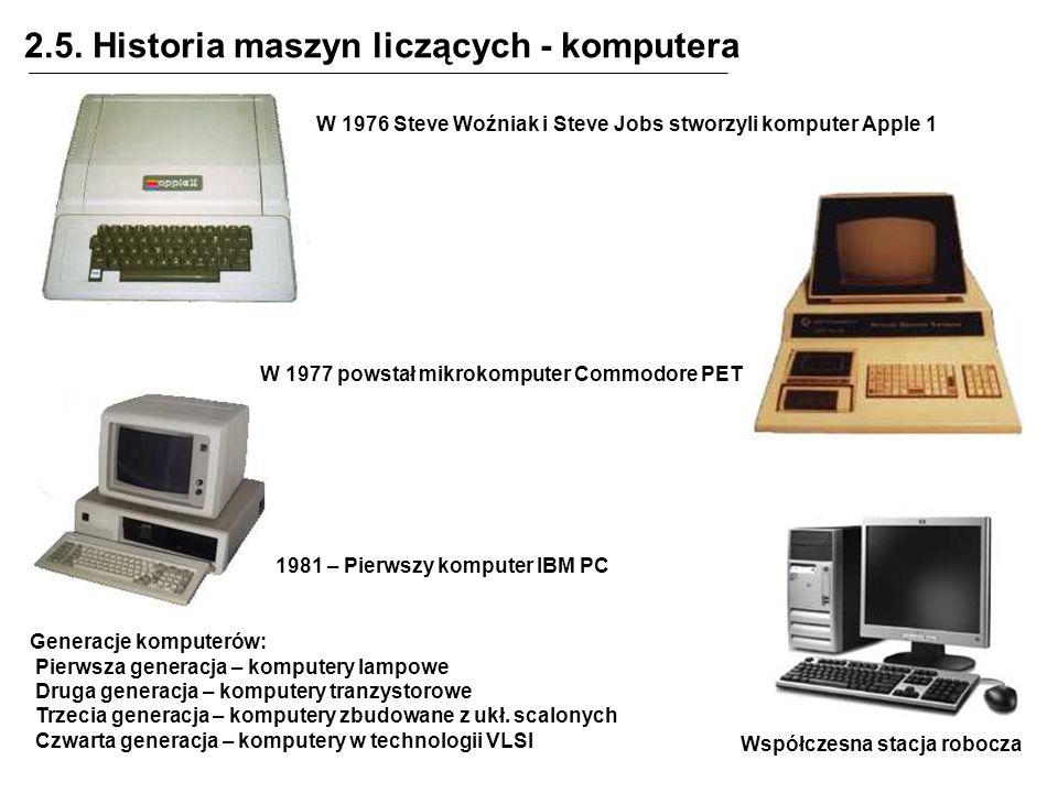 2.5. Historia maszyn liczących - komputera Generacje komputerów: Pierwsza generacja – komputery lampowe Druga generacja – komputery tranzystorowe Trze