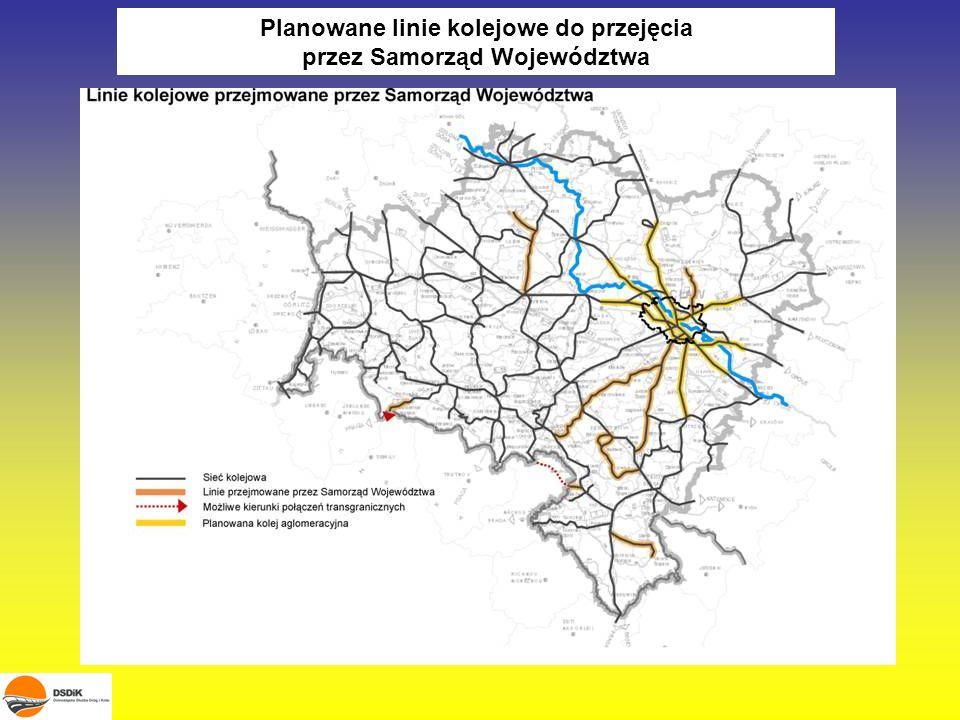 Planowane linie do obsługi przez spółkę Samorządu Województwa