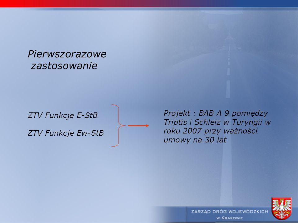Pierwszorazowe zastosowanie ZTV Funkcje E-StB ZTV Funkcje Ew-StB Projekt : BAB A 9 pomiędzy Triptis i Schleiz w Turyngii w roku 2007 przy ważności umo