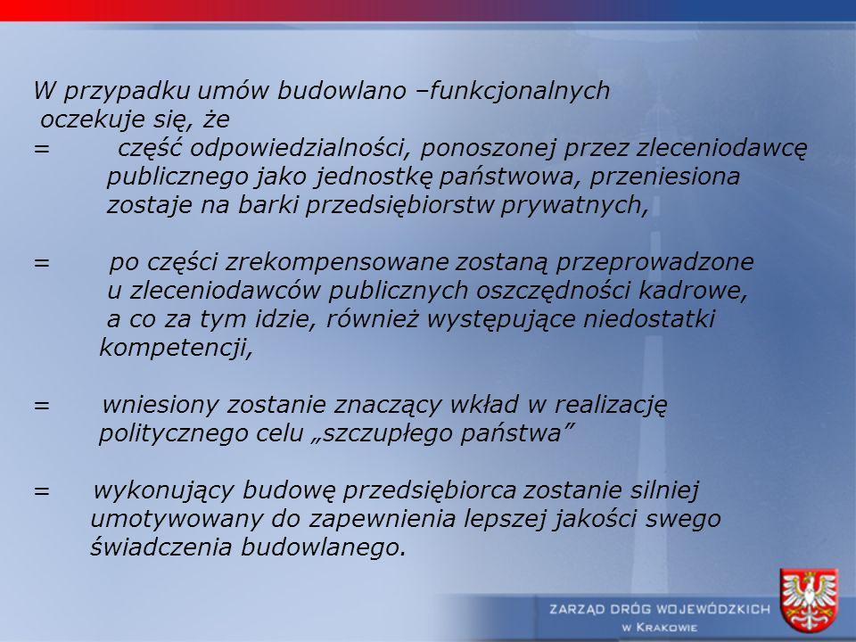 W przypadku umów budowlano –funkcjonalnych oczekuje się, że =część odpowiedzialności, ponoszonej przez zleceniodawcę publicznego jako jednostkę państw