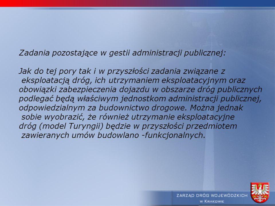 Zadania pozostające w gestii administracji publicznej: Jak do tej pory tak i w przyszłości zadania związane z eksploatacją dróg, ich utrzymaniem ekspl