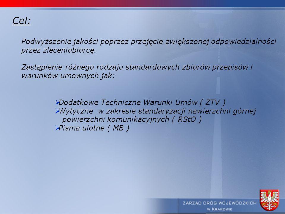 Cel: Podwyższenie jakości poprzez przejęcie zwiększonej odpowiedzialności przez zleceniobiorcę. Zastąpienie różnego rodzaju standardowych zbiorów prze