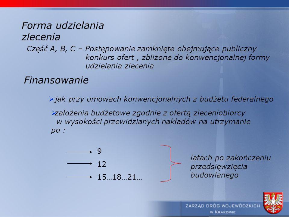 Forma udzielania zlecenia Część A, B, C – Postępowanie zamknięte obejmujące publiczny konkurs ofert, zbliżone do konwencjonalnej formy udzielania zlec