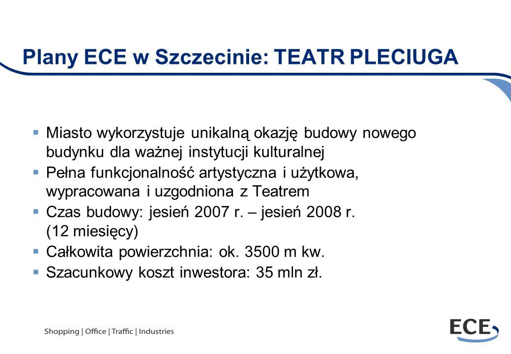 Plany ECE w Szczecinie: TEATR PLECIUGA Miasto wykorzystuje unikalną okazję budowy nowego budynku dla ważnej instytucji kulturalnej Pełna funkcjonalnoś