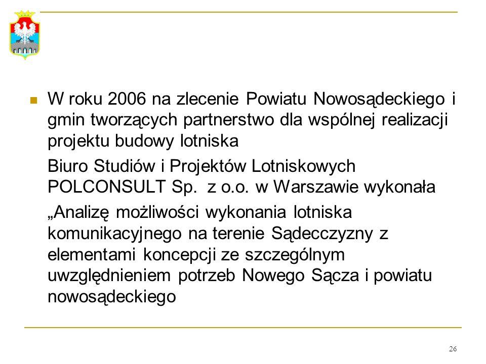26 W roku 2006 na zlecenie Powiatu Nowosądeckiego i gmin tworzących partnerstwo dla wspólnej realizacji projektu budowy lotniska Biuro Studiów i Proje