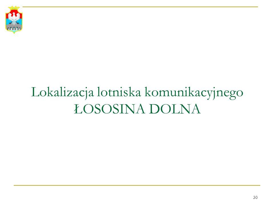 30 Lokalizacja lotniska komunikacyjnego ŁOSOSINA DOLNA